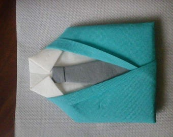 Folding napkin suit, shirt, tie turquoise blue, white, gray