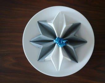 Star white and gray snowflake napkin folding