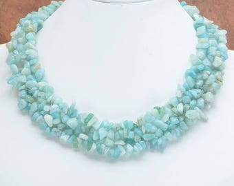 Aventurine and amazonite, Silver 925 necklace