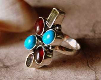 Turquoise, Garnet, citrine and silver - ring size 51