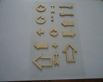 set of 15 STICKERS - MDF - arrows