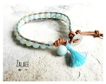 Bracelet wrap-leather-amazonite-turquoise-semi-precious stones-tibet-zen-silver-bohemian-gypsy-hippy chic-boho-boheme chic-tree of life