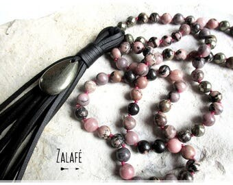 bohemian necklace, gemstones necklace, rhodocrosite, pyrite, hippie chic necklace, bohemien necklace, beads necklace, hand knotted necklace