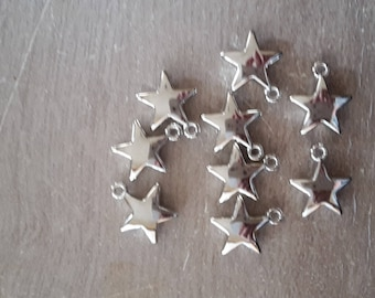 Silver plated star charms