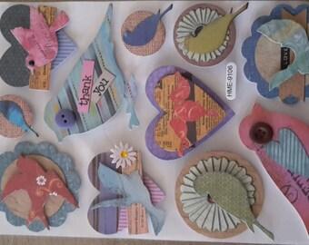Bird in 3D scrapbooking papers