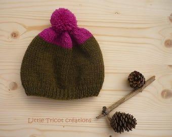 Khaki hat and fuchsia (6) for girl, knitted Handmade wool