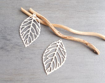 2 prints ivory enamel filigree leaves