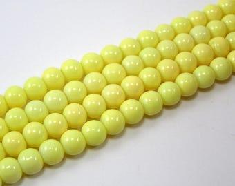 Set of 20 6 mm glass beads brilliant yellow M