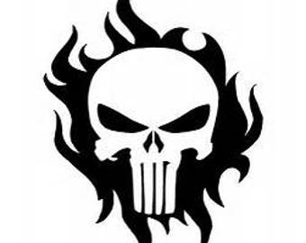 Punisher skull with Flames decal