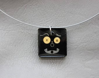 Choker + square pendant 2.5 cm Steampunk watch parts and resin