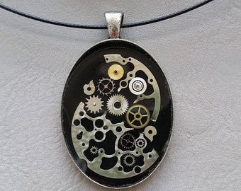 Choker + pendant oval shape big size steampunk watch parts and resin