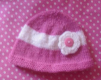 Baby girl newborn knit bonnet