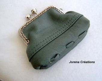 Blue/green leather with metal clasp purse