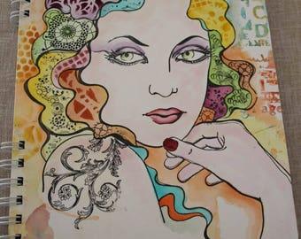 "Handmade scrapbook album ""Woman's face"""