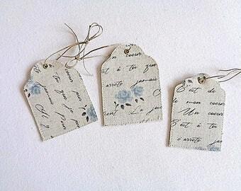 Tags, set of 3 linen print writing