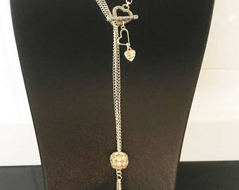 Necklace silver triple chain with clasp central Toogles heart shape