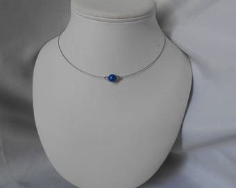 Classic necklace with Royal Blue beads and Swarovski pearls
