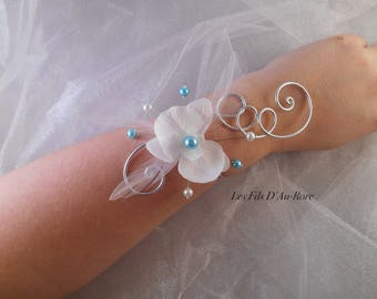 BELLA flower bracelet with white Orchid