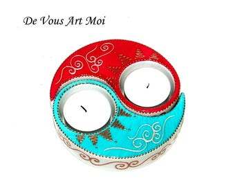 Candle holder, door candle separable two shaped porcelain hand painted ying-yang