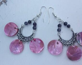 Pink Pearl pendants earrings