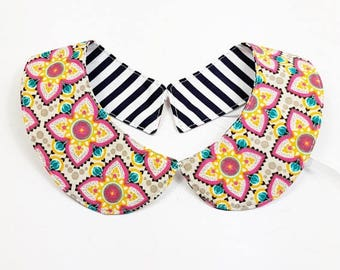 Peter Pan collar reversible striped Navy and flowers
