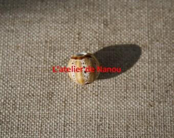 ceramic bead handmade 10 mm beige pumpkin shape