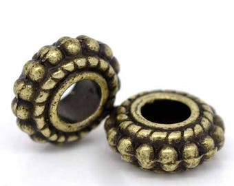 set of 10 beads spacer spacer wheel color bronze