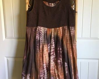 Upcycled Recycled Repurposed Boho Tie Dye Tunic Dress Ragged Raw Edge Hemline Size M