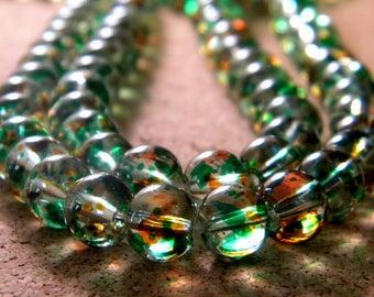 50 translucent glass 2 tones - green and orange - 8 mm beads - 3 PE233