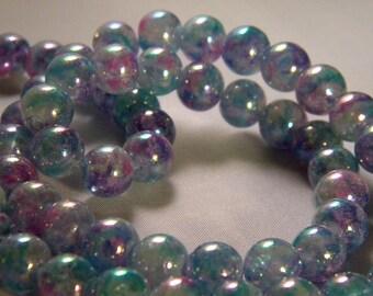 10 pearls iridescent Rainbow - blue translucent glass - 8 mm - PE55
