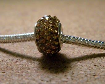 bead charms European 65 beige-rhinestones - 14 x 9 mm-CHA-C-20-3