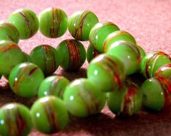 glass 10 mm green anise PE205 9 trefilee 20 beads