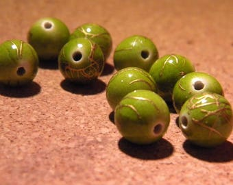 10 drawn beads 10 mm - golden green wire-gold PE159