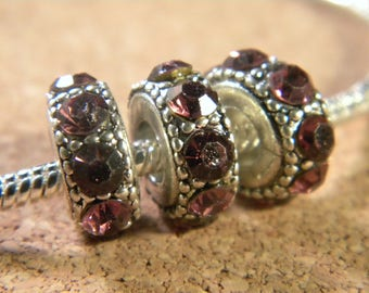 Pearl purple European rhinestone Crystal charms - 14 x 6 mm-CHA-C-13