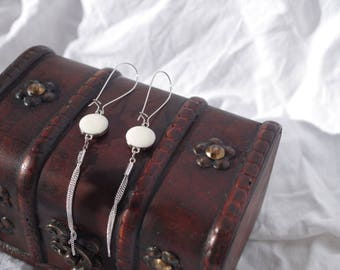Mesh chain and flat Pearl ivory earrings