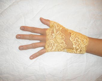 Sunshine yellow lace fingerless gloves