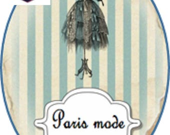 1 cabochon clear 10 x 14 mm paris fashion theme
