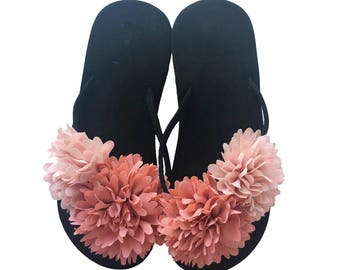 Chic-Mild Handmade Red Big Fashion Flower Flip Flops