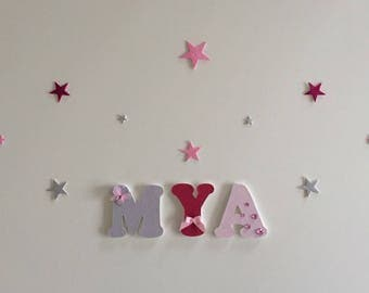 Mya - girl personalized wooden name theme wood letter