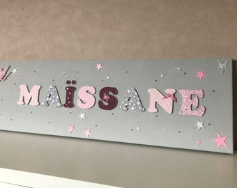 Canvas name bright girl with fairy - wood - wooden letters