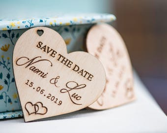 Save the date wooden heart - wedding - invitation