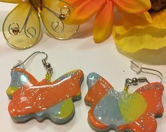 Yellow & Orange Butterfly Dangle Earrings