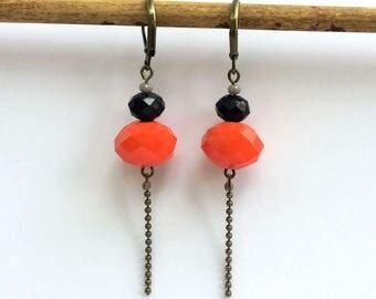 Faceted Orange & Black glass earrings