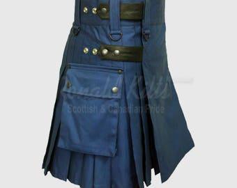 Blue & Blk Leather Utility Kilt