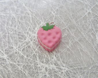 Delicious charm resin Strawberry cake pendant