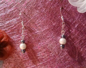 White and gray dangle earrings