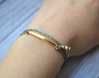 GOLD plated shiny dark gray cord bracelet