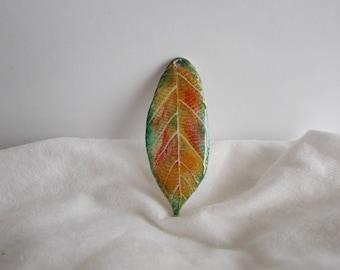 Pendant polymer clay autumn leaf for creation