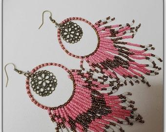 Earrings tassels, boho, Bohemian, hippy, colorful beads, old rose
