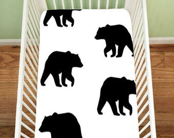 Black Bear Fitted Sheet, Gingham Bear Bedding, Fitted Crib Sheet, Changing Pad Cover